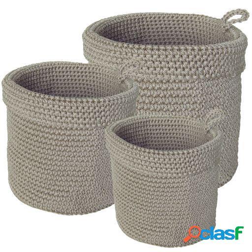 Wellindal Juego de 3 cestas beige