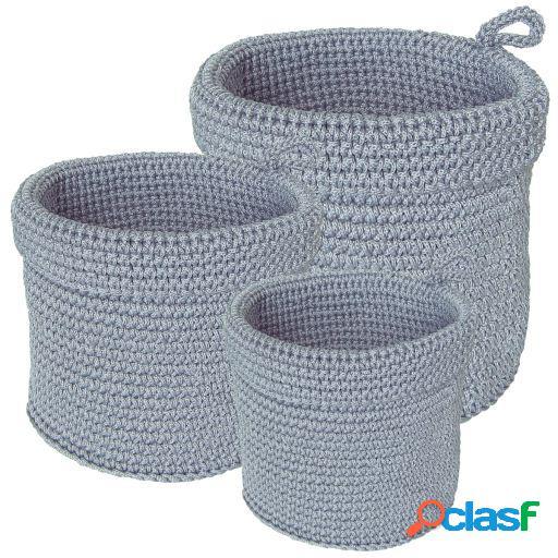 Wellindal Juego de 3 cestas gris claro