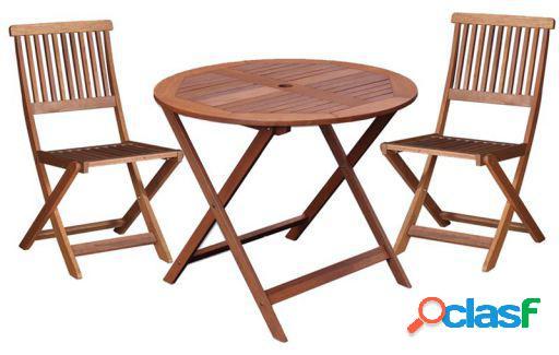 Wellindal Kate mesa redonda y 2 sillas madera shorea