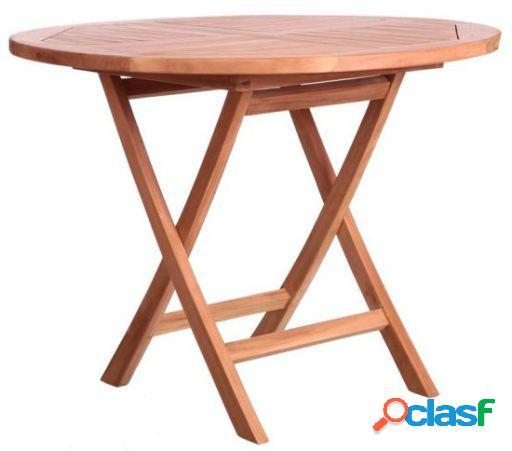 Wellindal Kayla mesa redonda plegable madera de teka