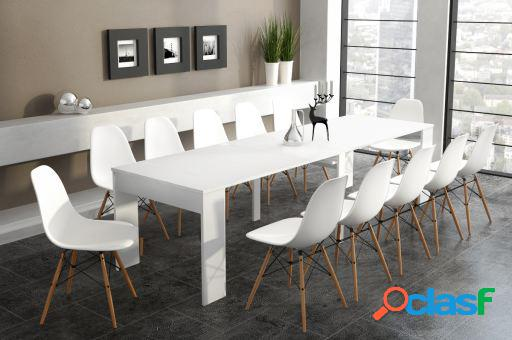 Wellindal Mesa de comedor extensible hasta 3 metros Blanco