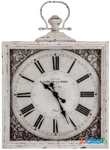 Wellindal Reloj Pared Cuadrado Vidrio Y Metal