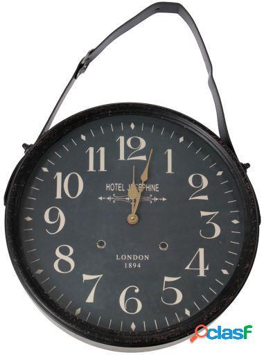 Wellindal Reloj pared metal con colgador metal hierro