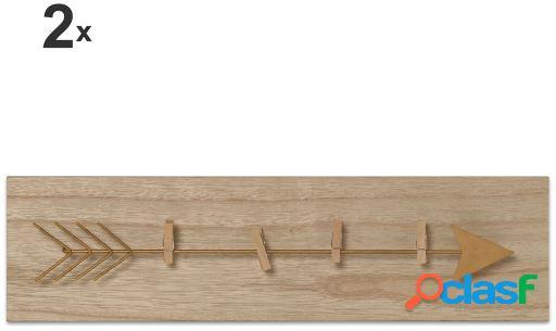 Wellindal Set 2 Portafotos tendedero madera con pinzas