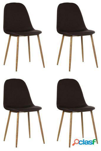 Wellindal Set 4 sillas tela marron con patas metal acabado