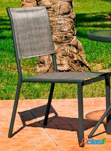 Wellindal Silla Acero y Textilen Calcuta 2 Apilable