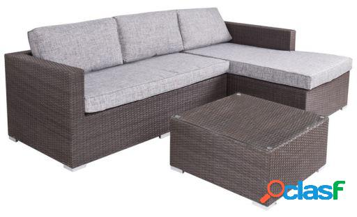 Wellindal Sofá chaise longue rattán pe 160x240x65 cm