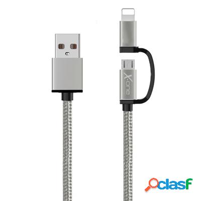 X-One Cdl1000S Cable Usb a Micro + iPhone Plata, original de