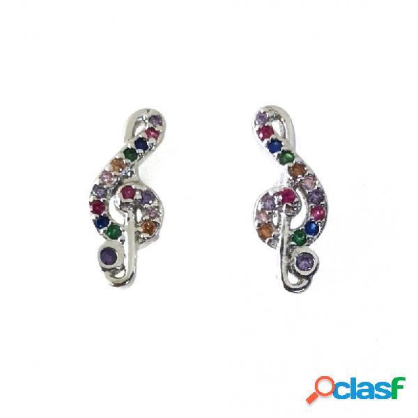 Pendientes clave de sol de plata con piedras multicolor
