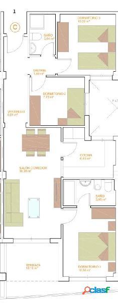 Pisos de Tres Dormitorios de nueva construcción. 1º C.