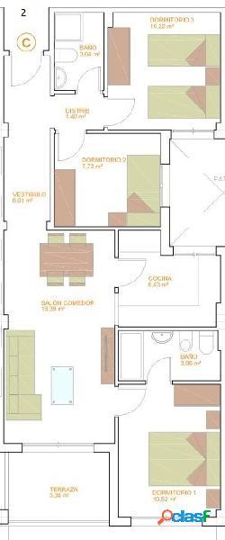 Pisos de Tres Dormitorios de nueva construcción