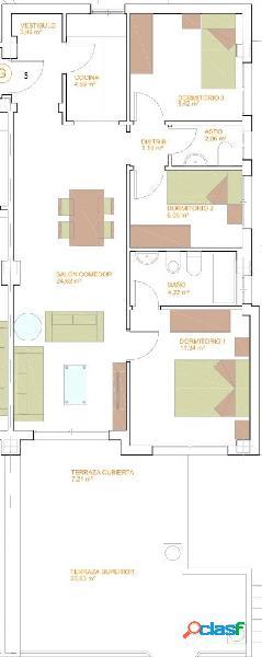 Piso de Tres Dormitorios.
