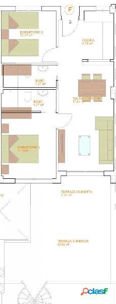Piso de dos dormitorios de nueva construcción.