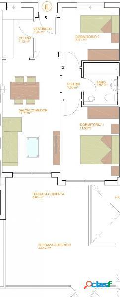 Piso de dos dormitorios de nueva construcción. C17