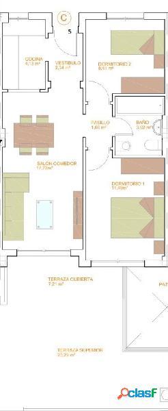 Piso de dos dormitorios de nueva construcción. C3 T3