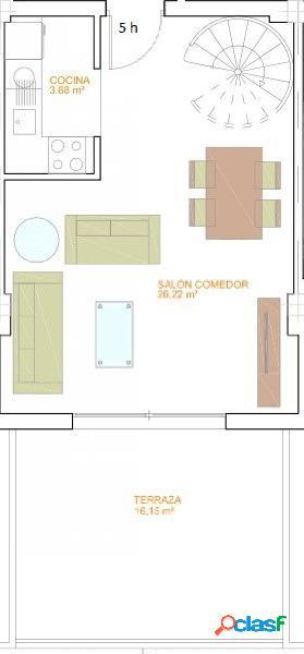 Piso de dos dormitorios de nueva cosntrucción.