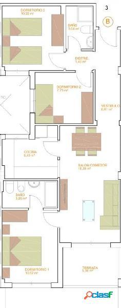 Piso de tres dormitorios de nueva construcción.