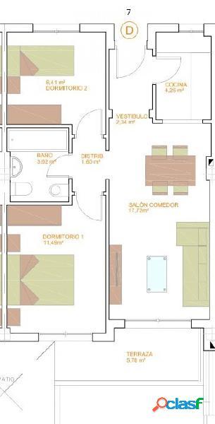 Pisos de Dos Dormitorios de obra nueva C1 T1