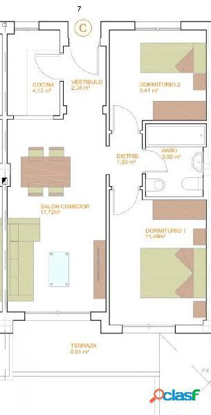 Pisos de Dos Dormitorios de obra nueva C2 T2