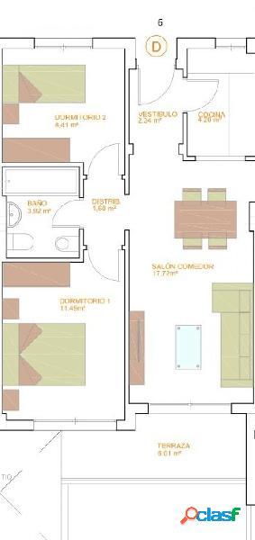 Pisos de Dos Dormitorios de obra nueva C6 T6