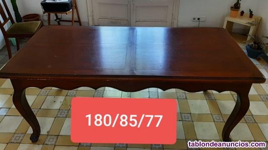 Mesa madera roble vintage + 6 sillas vintage