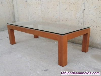 Mesa centro madera y cristal 60x120cm