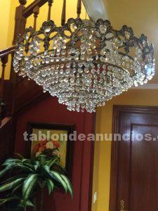 Vendo lampara lagrimas cristal strass y dos apliques
