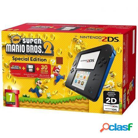 Consola nintendo 2ds black/blue + new super mario 2 special