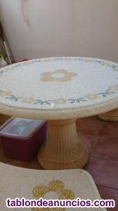 Mesa y banco piedra