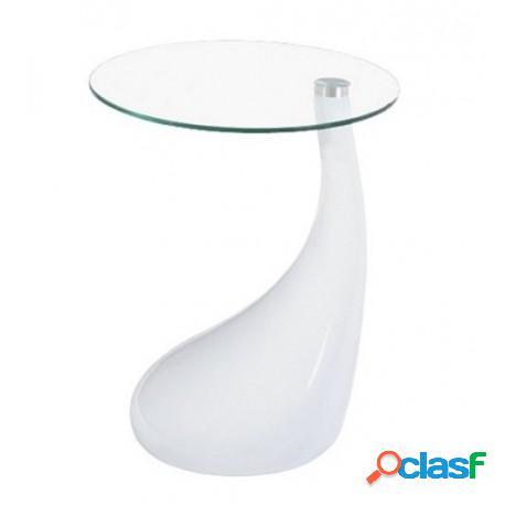 Mesa baja fabricada en abs blanco y cristal, 45 cms de