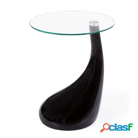 Mesa baja fabricada en abs negro y cristal, 45 cms de
