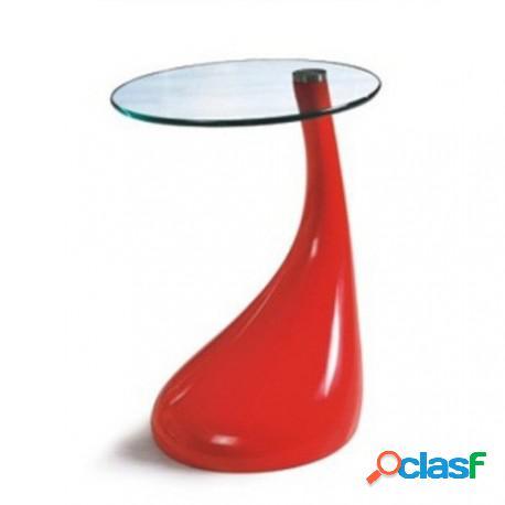 Mesa baja fabricada en abs rojo y cristal, 45 cms de