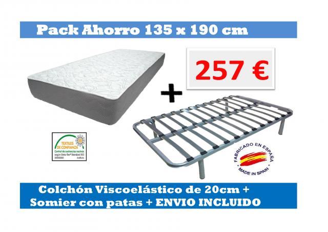 SOMIER + COLCHÓN VISCOELASTICO DE 135X190CM + ENVÍO