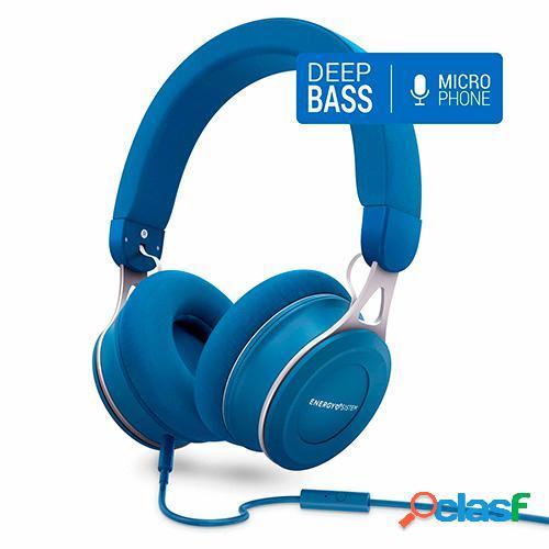 Auriculares energy headphones urban 3 mic blue deep bass
