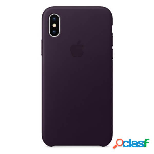 Funda leather case morada para iphone x