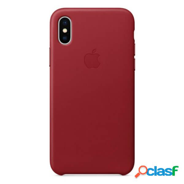 Funda leather case roja para iphone x