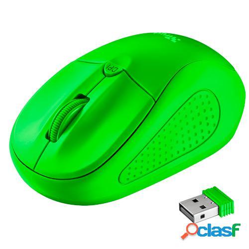 Raton inalambrico trust primo wireless mouse neon green