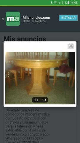 Vendo mesa extensible madera maciza con sillas