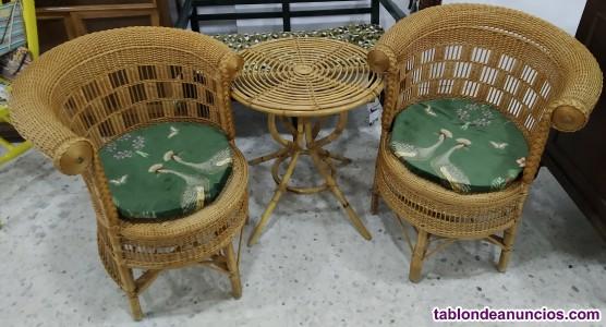 Conjunto 2 butacas+mesa mimbre