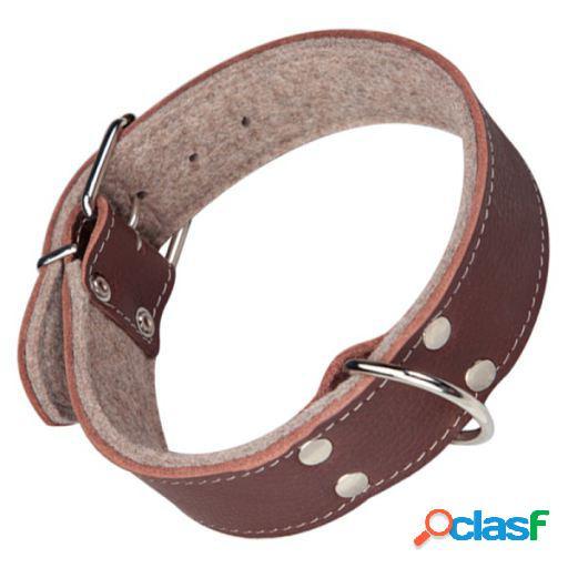 Arppe Collar Cuero grabado superficie Marrón Chocolate/Gris