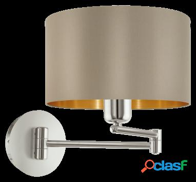Wellindal Aplique textil 1 luz Gris y Gold Maserlo