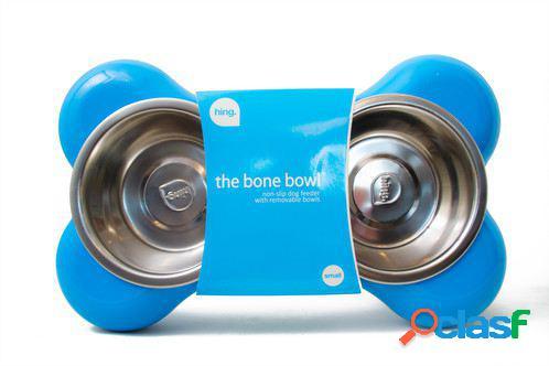Hing Bone Double Comedero para Perros de Color Azul S