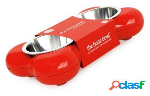 Hing Bone Double Comedero para Perros de Color Rojo S