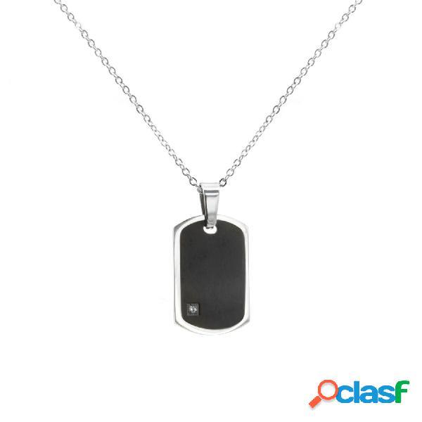 Colgante black color con cadena de acero inoxidable
