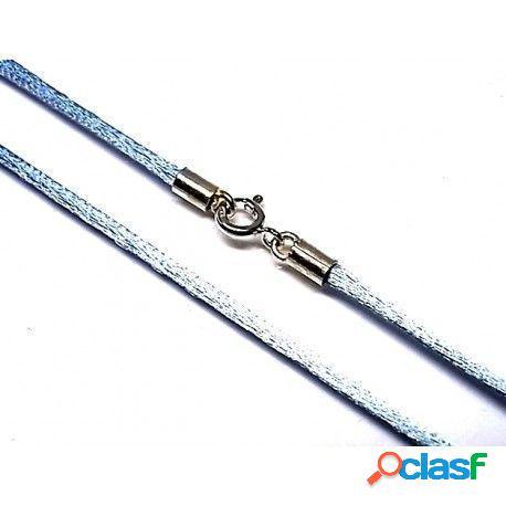 Cordón seda azul cielo con cierre de plata de ley 40 cm.