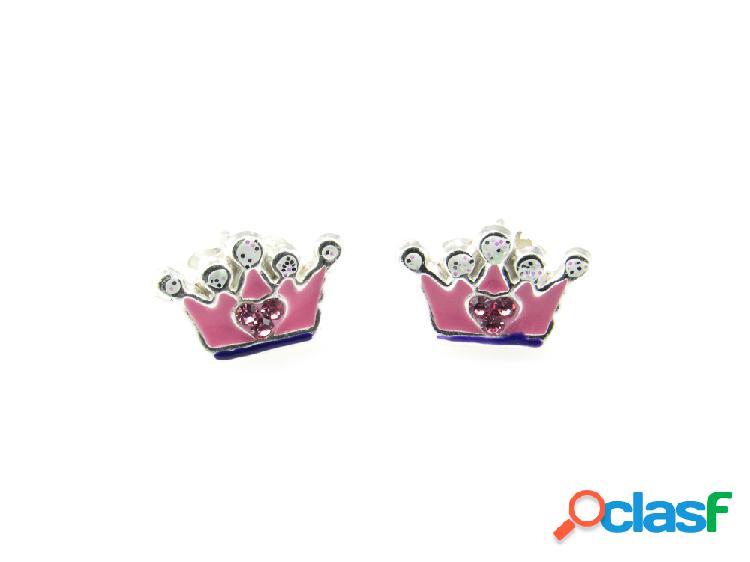 Pendientes corona rosa de plata de ley para niñas
