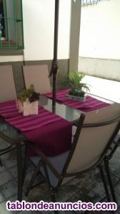 Venta mesa cristal y 4 sillas reclinables y pergola