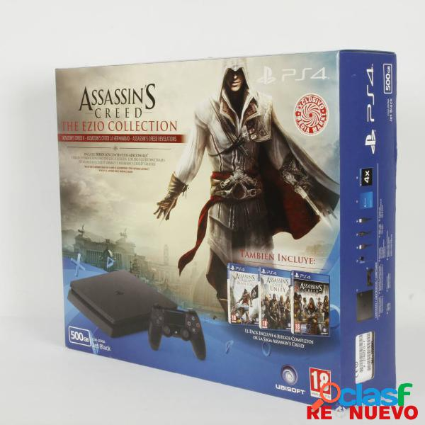 Pack consola PS4 SLIM 500GB + SAGA ASSESINS CREED PRECINTADA