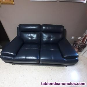 Vendo dos sofás en piel azul nuevo de la casa