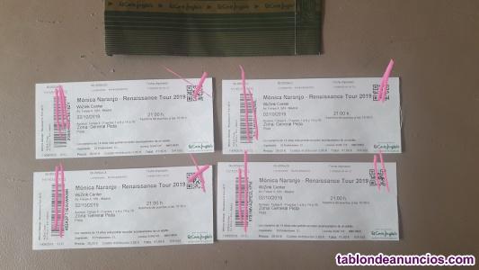 Vendo entradas concierto monica naranjo. Madrid